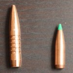 285 grain Tac-X bullet in 338 Lapua next to 165 grain 308 BT