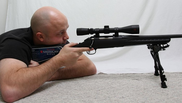 Shooting position prone with bipod