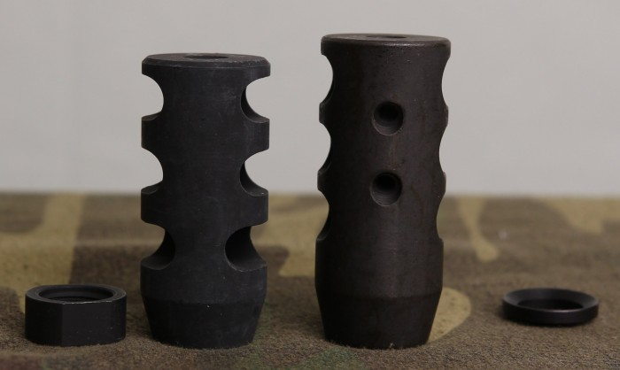 Widened gills on Miculek brake (left) vs compensating holes on CM (right)