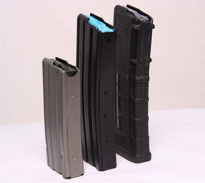 The Alexander Arms 10 round Beowulf magazine is equal in height to 30 round AR-15 Magazines